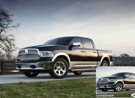 RAM 1500 Pickup Truck with Demo Vehicle ID Card