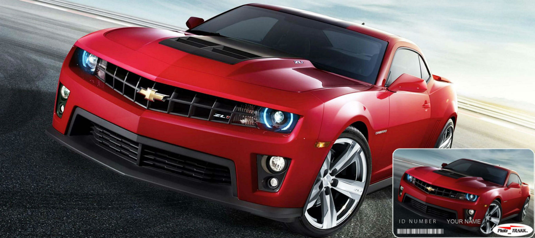Chevrolet Camaro ZL1 Red Color with Photo Trakk Vehicle Registration ID Card