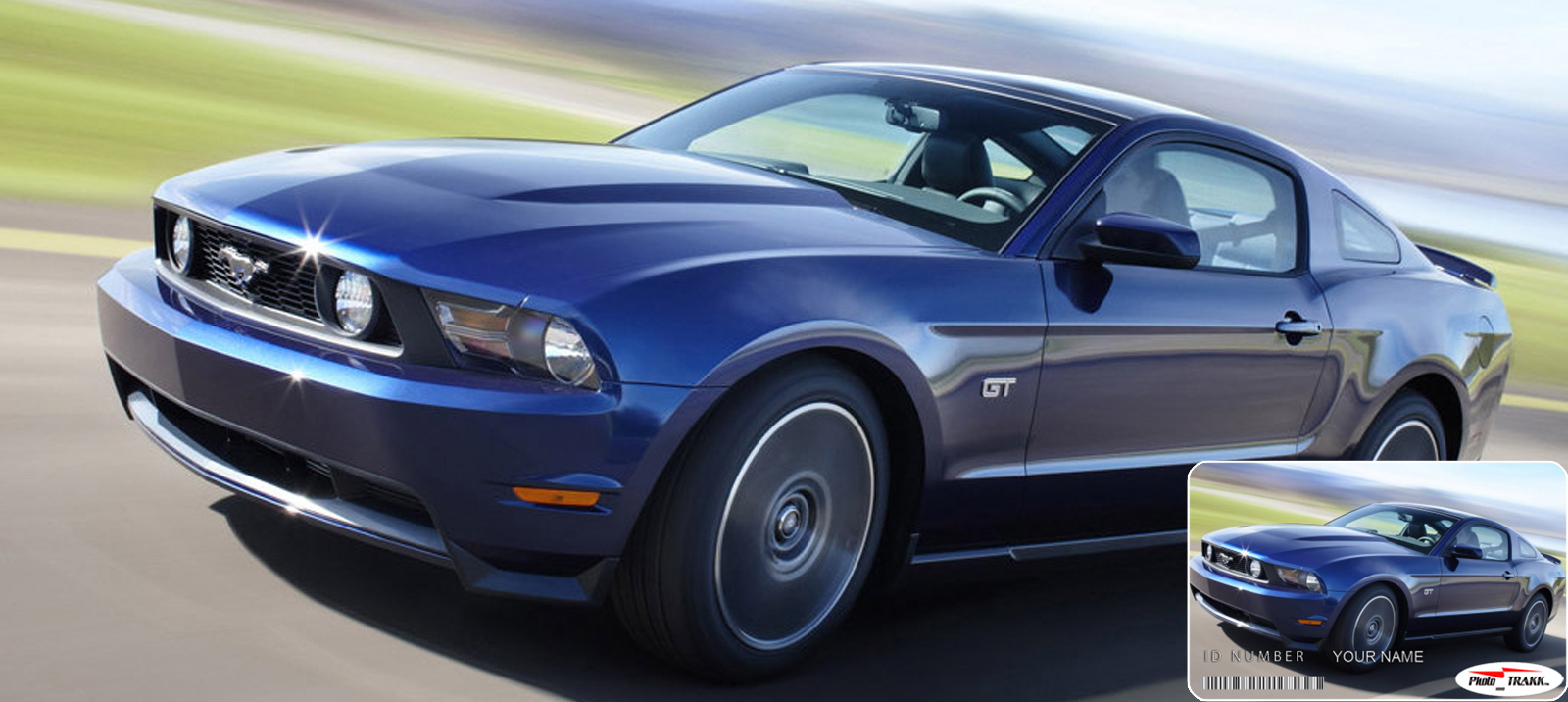 Ford Mustang GT Blue Color with Demo Vehicle ID Card