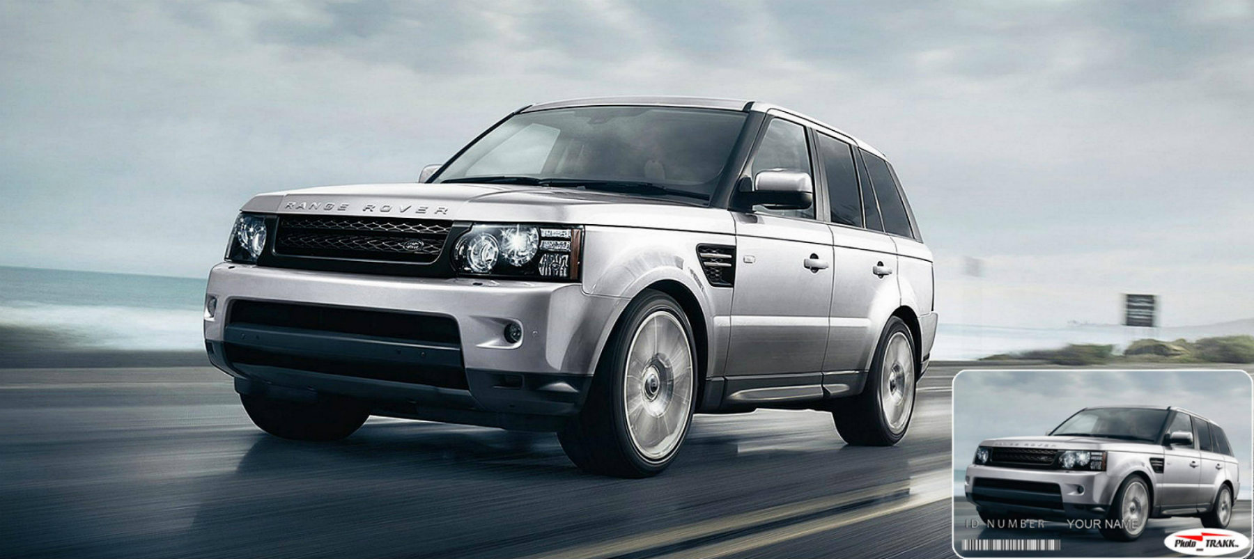 Range Rover SUV Silver Car with Motor Vehicle Photo Trakk Identification Card